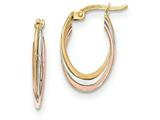14k Tri-color Polished Oval Hoop Earrings style: TF662