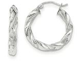 14k White Gold Light Twisted Hoop Earrings style: TF673