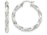 14k White Gold Light Twisted Hoop Earrings style: TF675