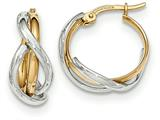 14k Two-tone Polished Twisted Hoop Earrings style: TF677