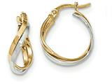 Finejewelers 14 kt Two Tone Gold Polished Twisted Hoop Earrings style: TF678