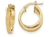 14k Satin And Polished Twisted Hoop Earrings style: TF684