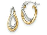 14k Two-tone Polished/textured Post Hoop Earring style: TF685