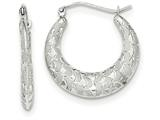 14k White Gold Satin And Bright-cut Hoop Earrings style: TF727