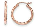 14k Rose Gold Light Weight Satin Bright Cut Hoop Earrings style: TF756