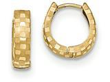 14k Bright Cut 4mm Patterned Hinged Hoop Earrings style: TF773