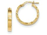 14k Bright Cut Edge Polished Hoop Earrings style: TF814