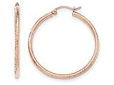 14k Rose Gold Polished Light Weight Large Bright Cut Tube Hoop Earrings style: TF820