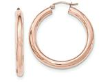 14k Rose Gold Polished Tube Hoop Earrings style: TF827