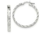 14k White Gold Patterned Hoop Earrings style: TF865