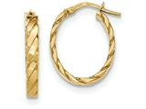 14k Yellow Gold Patterned Oval Hoop Earrings style: TF870