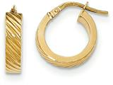 14 kt Yellow Gold Textured Flat Edge Hoop Earrings style: TF893