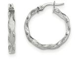 14k White Gold Satin And Polished Scalloped Edge Hoop Earrings style: TF906