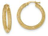 14k Textured Bright Cut Hoop Earrings style: TF940