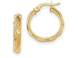 14 kt Yellow Gold Polished And Textured Hoop Earrings style: TF984