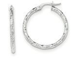 14k White Gold Polished And Textured Hoop Earrings style: TH675
