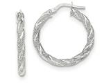 14k White Gold Twisted Textured Hoop Earrings style: TH691