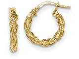 14k Yellow Gold Twisted Rope Hoop Earrings style: TH696