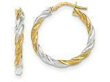Finejewelers 14k Yellow Gold and Rhodium Twisted Hoop Earrings style: TH717
