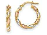 14k Tri-color Textured Twisted Hoop Earrings style: TH746
