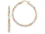 14k Tri-color Satin Twisted Hoop Earrings style: TH759