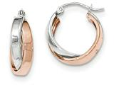 14k Rose And White Gold Polished Oval Hoop Earrings style: TH767