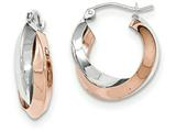 14k Rose And White Gold Polished Oval Hoop Earrings style: TH768