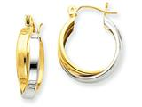 14k Two-tone Polished Double Hoop Earrings style: TL115