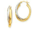 14k Two-tone Polished Double Oval Hoop Earrings style: TM397