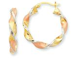 Finejewelers 14 kt Tri Color Gold and Rhodium Twisted Hoop Earrings style: TM408