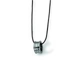 Chisel Tungsten Polished Leather Cord Necklace - 18 inches style: TUN107