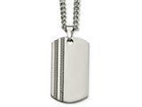 <b>Engravable</b> Chisel Tungsten Polished and Carbon Fiber Dog Tag Necklace style: TUN11624