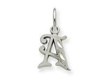 14k White Gold Bright-cut Initial A Charm style: WCH139A