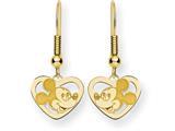 Disney Mickey Heart Dangle Wire Earrings style: WD108GP