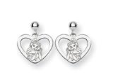 Disney Belle Heart Dangle Post Earrings style: WD244SS