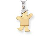The Kids® Small Boy with Hat on Left Engraveable Charm / Pendant Necklace style: XK204