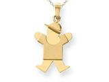 The Kids® Solid Engraveable Boy with Hat on Right Charm / Pendant Necklace style: XK205