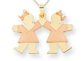 The Kids® Small Double Girls Engraveable Charm / Pendant Necklace style: XK423