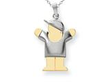 The Kids® Puffed Boy with Hat on Right Engraveable Charm / Pendant Necklace style: XK580