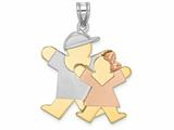 Finejewelers The Kids® Big Boy and Little Girl Engraveable Charm / Pendant Necklace style: XK642