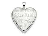 Finejewelers 14k White Gold 20mm Love, Faith, Hope Heart Locket Pendant Necklace 18 inch chain included style: XL707