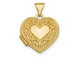 Finejewelers 14k Polished Fancy Scroll Design Front and Back 15mm Heart Locket Pendant Necklace 18 inch chain included style: XL713