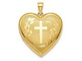 Finejewelers 14k 24mm Bright Cut Cross Ash Holder Heart Locket Pendant Necklace 18 inch chain included style: XL717