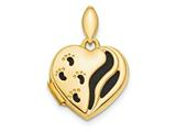 Finejewelers 14k Polished Black Fabric Footprints Heart Locket Pendant Necklace 18 inch chain included style: XL719
