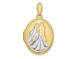 Finejewelers 14k and Rhodium Polished Bride And Groom Oval Locket Pendant Necklace 18 inch chain included style: XL725