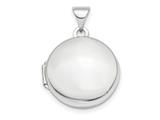 Finejewelers 14k White Gold Polished Domed 16mm Round Locket Pendant Necklace 18 inch chain included style: XL731