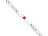 Sterling Silver Polished Medical Figaro Anchor Link Id Bracelet style: XSM160