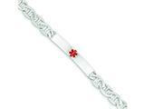 Sterling Silver Polished Medical Anchor Link Id Bracelet style: XSM161