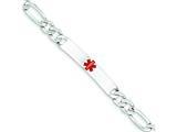 Sterling Silver Polished Medical Figaro Anchor Link Id Bracelet style: XSM162