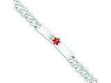 Sterling Silver Polished Medical Curb Link Id Bracelet style: XSM163